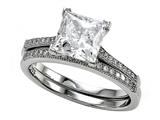 Zoe R™ 925 Sterling Silver Micro Pave Hand Set Cubic Zirconia (CZ) Princess Cut Center Wedding Set Style #BM10381