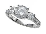 Zoe R™ Micro Pave Hand Set Cubic Zirconia (CZ) 3 Stone Engagement Ring with 7mm center. Style #BM10474