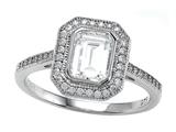 Zoe R™ 925 Sterling Silver Micro Pave Hand Set Cubic Zirconia (CZ) Emerald Cut Center Engagement Rin Style #BM10485