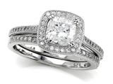 Zoe R™ 925 Sterling Silver Micro Pave Hand Set Cubic Zirconia (CZ) Halo Cushion Cut Center Wedding S Style #BM10606