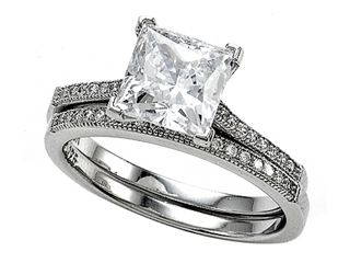 Zoe R 925 Sterling Silver Micro Pave Hand Set Cubic Zirconia (CZ) Princess Cut Center Wedding Set