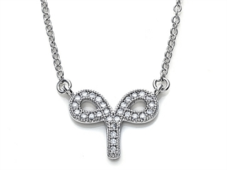 Zoe R Sterling Silver Micro Pave Hand Set Cubic Zirconia (CZ) Aries Zodiac Pendant Necklace On 18 Inch Adjustable Chain