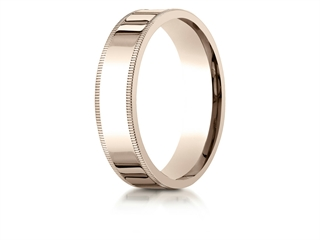 Benchmark 14k Rose Gold 6mm Flat Comfort-fit Wedding Band / Ring With Milgrain
