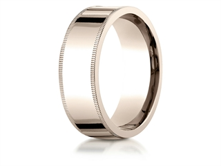 Benchmark 14k Rose Gold 8mm Flat Comfort-fit Wedding Band / Ring With Milgrain