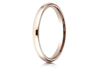 Benchmark 14k Rose Gold 2.5mm Slightly Domed Standard Comfort-fit Wedding Band / Ring