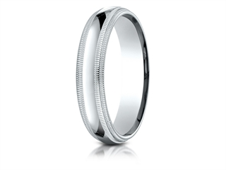 Benchmark 18k Gold 5mm Slightly Domed Standard Comfort-fit Wedding Band / Ring With Double Milgrain