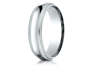 Benchmark 10k Gold 6mm Slightly Domed Standard Comfort-fit Wedding Band / Ring With Double Milgrain