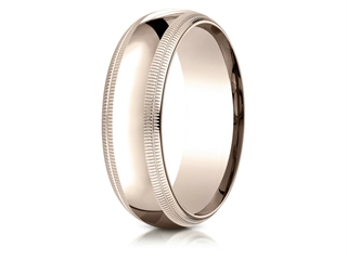 Benchmark 14k Rose Gold 7mm Slightly Domed Standard Comfort-fit Wedding Band / Ring With Double Milgrain