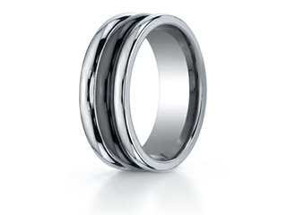 Benchmark 8mm Tungsten Forge Wedding Ring with Seranite Center