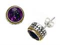Silver and 18kt Yellow Gold Genuine Amethyst Earrings by Effy Collection(r)