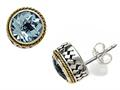 Silver and 18kt Yellow Gold Genuine Blue Topaz Earrings by Effy Collection(r)