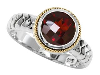 Balissima By Effy Collection Sterling Silver and 18k Yellow Gold Garnet Ring