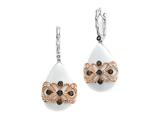 Carlo Viani® 925 Sterling Silver White Agate Earrings with White Topaz and Smokey Quartz Gems Style #C103-0153