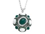 Carlo Viani® 925 Sterling Silver Silver Pendant Necklace, Mix of White Sapphire, Tsavorite, White Ag Style #C103-0590
