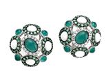 Carlo Viani® 925 Sterling Silver Silver Earrings, Mix of White Sapphire, Tsavorite, White Agate, and Style #C103-0591