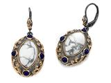 Carlo Viani® Rose Gold Plated Howlite Earrings with Lapis Gemstones Style #C110-0037