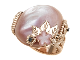 Carlo Viani 14K Rose Gold Pink Mother of Pearl Ring