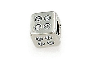 Zable Sterling Silver Cube with White Stones Bead / Charm