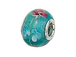 Zable Sterling Silver Aqua Glass Flower Murano Glass Pandora Compatible Bead / Charm
