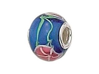 Zable Sterling Silver Blue Glass Flower Murano Glass Bead / Charm