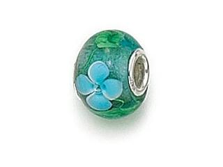 Zable Sterling Silver Green/Blue Flower Murano Glass Bead / Charm