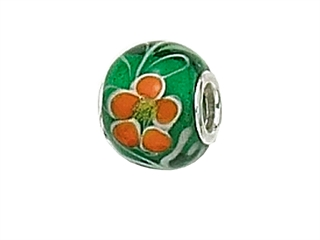 Zable Sterling Silver Green/Orange Flower Murano Glass Pandora Compatible Bead / Charm