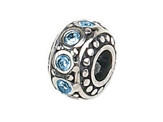 Zable Sterling Silver Crystal Birth Month March Pandora Compatible Bead / Charm