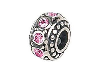 Zable Sterling Silver Crystal Birth Month October Pandora Compatible Bead / Charm