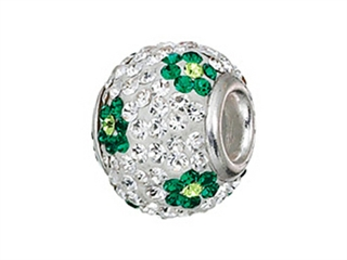 Zable Sterling Silver Green Flower Bead / Charm