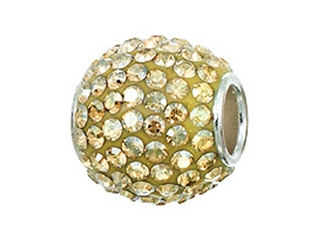 Zable Sterling Silver Pave Crystal Ball Golden Shadow Bead / Charm