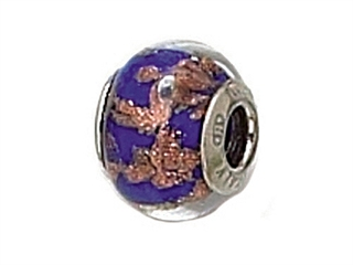 Zable Sterling Silver Blue with Copper Glitter Murano Glass Bead / Charm