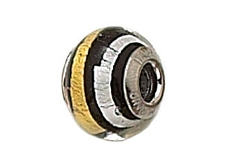 Zable Sterling Silver Black Gold/Silver Stripe Murano Glass Bead / Charm