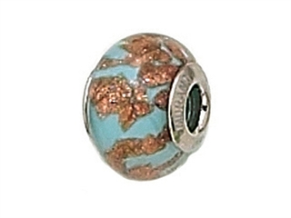 Zable Sterling Silver Light Blue with Copper Murano Glass Bead / Charm