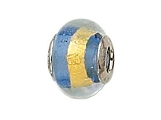 Zable Sterling Silver Blue with Gold Stripe Murano Glass Bead / Charm