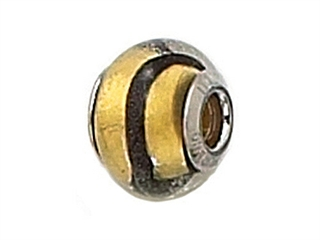 Zable Sterling Silver Gold with Black Strip Murano Glass Bead / Charm