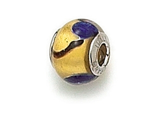 Zable Sterling Silver Gold with Blue Spot Murano Glass Bead / Charm
