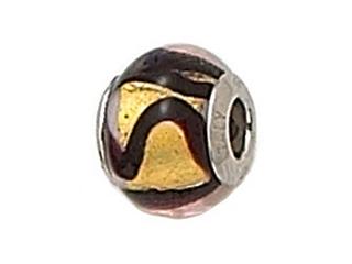 Zable Sterling Silver Gold/Carmel/Black Swirls Bead / Charm