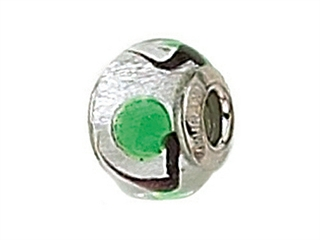 Zable Sterling Silver Silver with Green Spot Murano Glass Bead / Charm