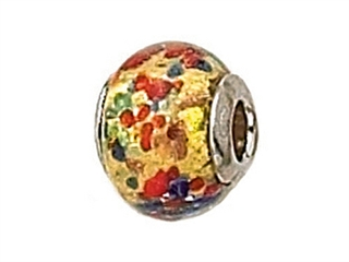 Zable Sterling Silver Gold with Multicolor Dot Murano Glass Bead / Charm