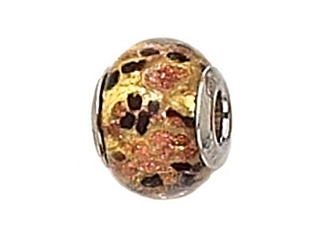 Zable Sterling Silver Gold with Black/Copper Murano Glass Bead / Charm