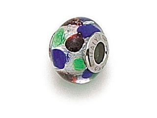 Zable Sterling Silver with Multicolor Dot Murano Glass Bead / Charm