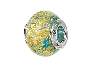 Zable Sterling Silver Blue with Gold Specks Murano Glass Bead / Charm