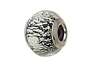 Zable Sterling Silver Black with Silver Specks Murano Glass Bead / Charm