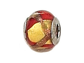 Zable Sterling Silver Gold with Red/Copper Murano Glass Bead / Charm