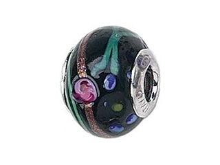 Zable Sterling Silver Black with Flowers/Multicolor Murano Glass Pandora Compatible Bead / Charm