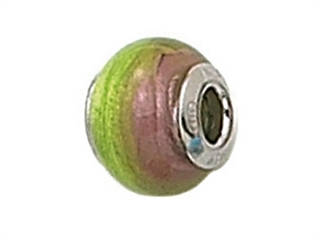Zable Sterling Silver Pink/Green Murano Glass Bead / Charm