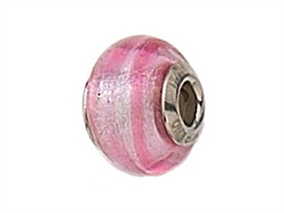 Zable Sterling Silver Pink Striped Murano Glass Bead / Charm