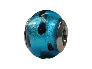 Zable Sterling Silver Murano Glass-Blue Polka Bead / Charm