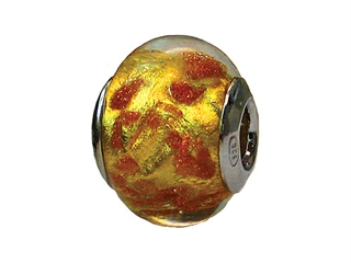 Zable Sterling Silver Murano-Gold Copper Glitter Murano Glass Bead / Charm