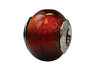 Zable Sterling Silver Murano-Burnt Orange Murano Glass Bead / Charm